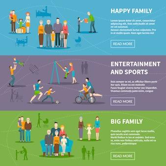 Bannières plates de famille heureuse