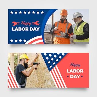 Bannières plates de la fête du travail des états-unis avec photo