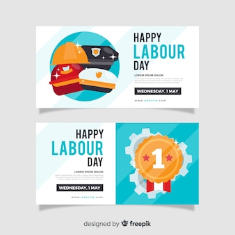 Bannières plates de la fête du travail