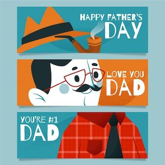 Bannières plates de fête des pères
