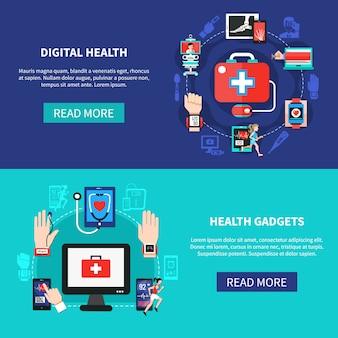 Bannières plates de gadgets de santé numériques