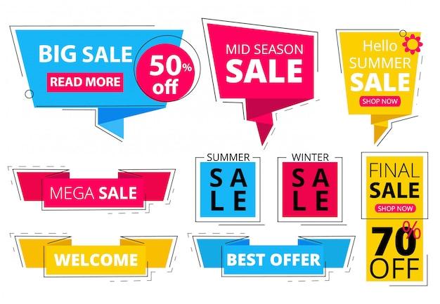 Bannières plates à la mode. offre des étiquettes de réduction publicitaires promo, vente, remise, grande vente