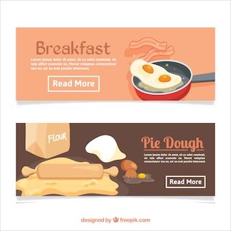 Bannières plates avec le petit déjeuner et la pâte à tarte