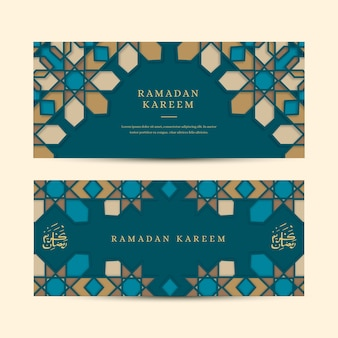 Bannières plates de ramadan