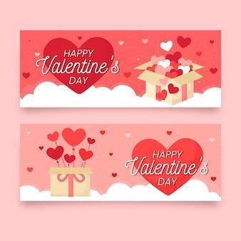Bannières plates de la saint-valentin avec des boîtes