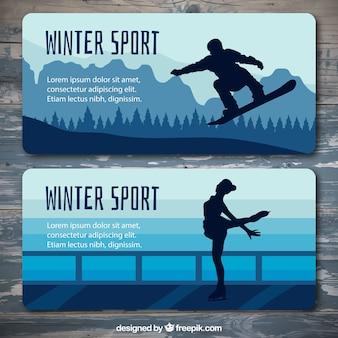 Bannières plates de silhouettes qui pratiquent des sports d'hiver
