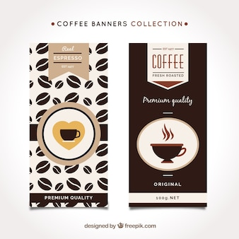 Bannières plates avec tasse de café décorative