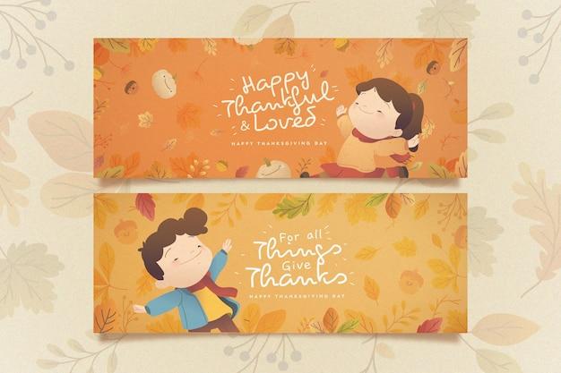Bannières plates de thanksgiving