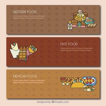 Bannières plates avec variété de repas
