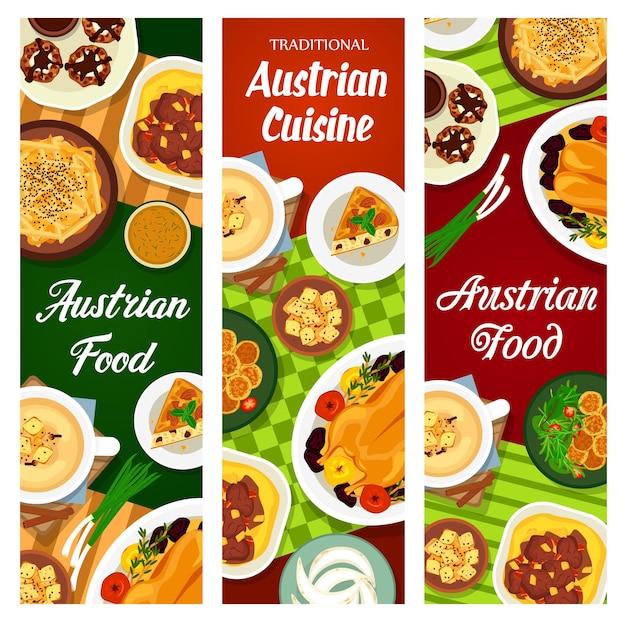 Bannières de plats et repas de restaurant autrichien