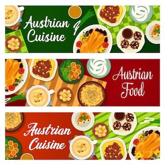 Bannières de plats de restaurant de cuisine autrichienne