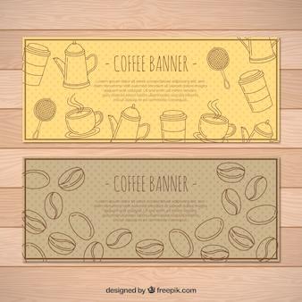 Bannières pointillées avec des haricots café et éléments décoratifs