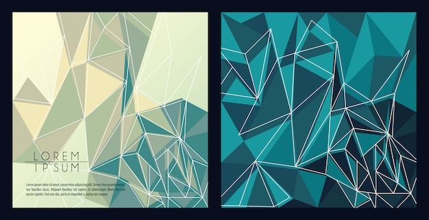 Bannières polygonales abstraites grises et vertes