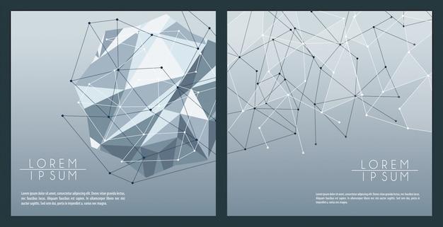 Bannières polygonales abstraites grises