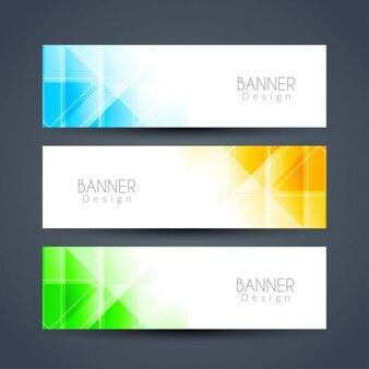 Bannières polygonales lumineuses et colorées fixées