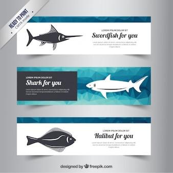 Bannières polygonales avec des poissons