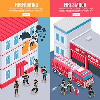 Bannières de pompier isométrique