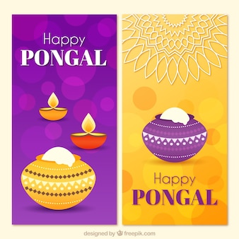Bannières pongal jaunes et violettes avec effet bokeh