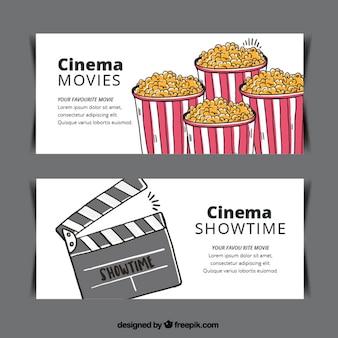 Bannières popcorn et clapper dessiné à la main