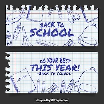 Bannières de portable feuilles de l'école