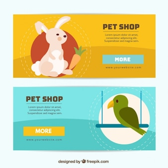 Bannières pour un magasin pour animaux de compagnie avec un lapin et un oiseau