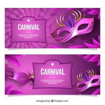 Bannières pourpres pour le carnaval célébration