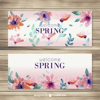 Bannières de printemps bienvenue dans le style d'aquarelle