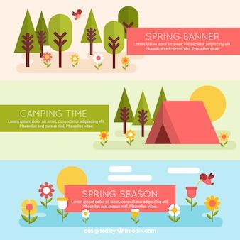 Bannières de printemps géométriques