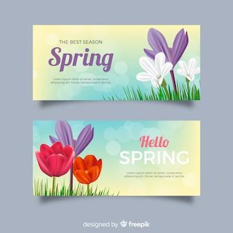 Bannières de printemps réalistes