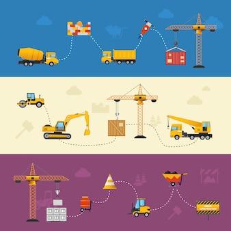 Bannières de processus de construction