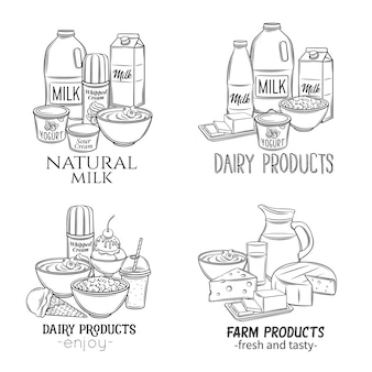 Bannières de produits laitiers dessinés à la main