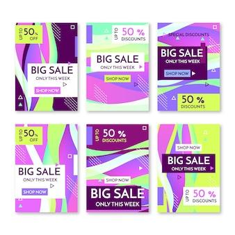 Bannières de promotion de vente abstraite