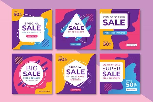 Bannières de promotion des ventes abstraites