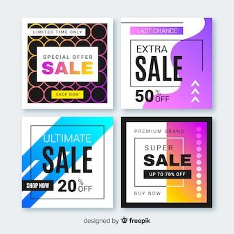 Bannières de promotion des ventes pour la collecte de médias sociaux