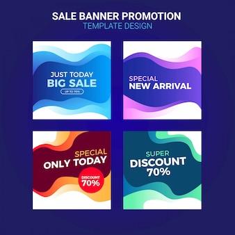Bannières de promotion des ventes pour le modèle de médias sociaux