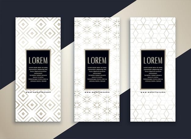 Bannières propres verticales blanches avec motif minimal