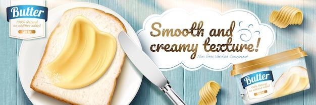 Bannières publicitaires au beurre crémeux avec de délicieux toasts sur une table en bois bleue perspective à plat