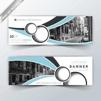 Bannières publicitaires bleu clair