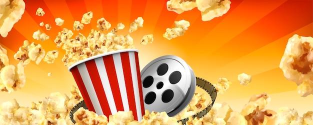 Bannières publicitaires caramel pop-corn avec cors volants et articles de cinéma en illustration
