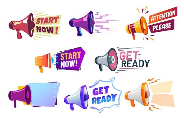 Bannières publicitaires avec mégaphone. préparez-vous, orateur de badge, attention s'il vous plaît et commencez maintenant