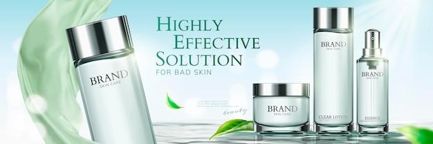 Bannières publicitaires sur les soins de la peau
