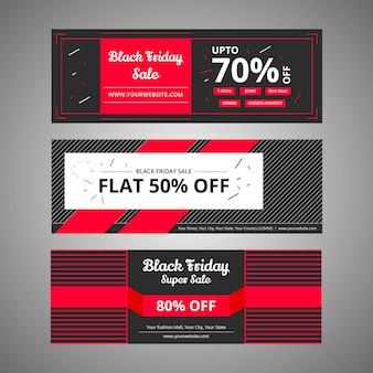 Bannières de rabais black vendredi pour le marketing numérique et les médias sociaux