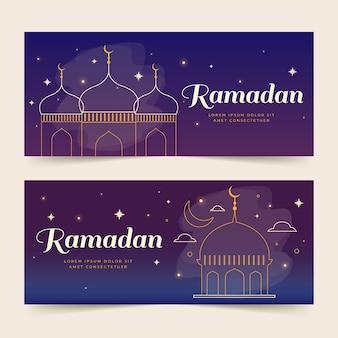 Bannières de ramadan créatives dessinées à la main