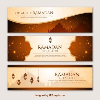 Bannières ramadan dans un style élégant