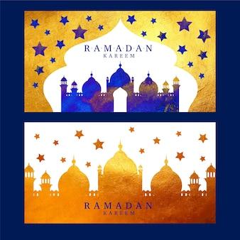 Bannières de ramadan design aquarelle