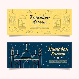 Bannières de ramadan design dessinés à la main