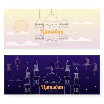 Bannières de ramadan design plat illustrées