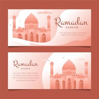 Bannières de ramadan design plat monochrome