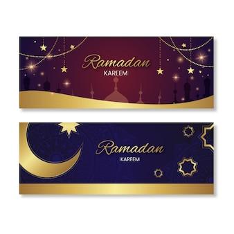 Bannières de ramadan design plat
