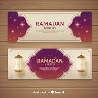 Bannières de ramadan plat